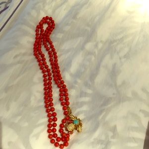 Coral bead necklace with detachable bee pin